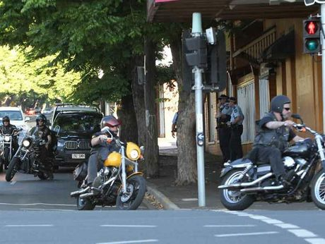 Members of the Highway 61 motorcycle gang outside the Spotted Cow in Toowoomba.