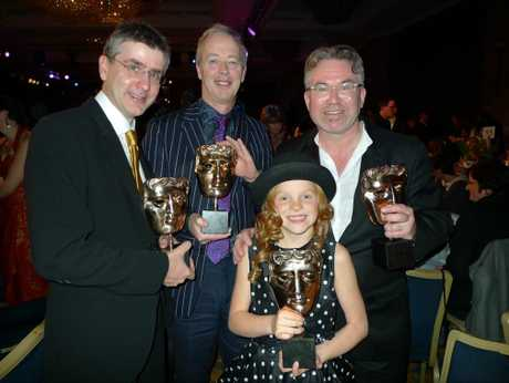 At the 2011 BAFTAs: Harley Bird (the voice of Peppa Pig who also won a BAFTA that year) and left to right Mark Baker (co-creator), Phil Davies (producer) and Neville Astley (co-creator).