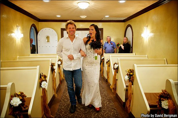 Jon Bon Jovi walks bride Branka Delic down the aisle in Las Vegas.