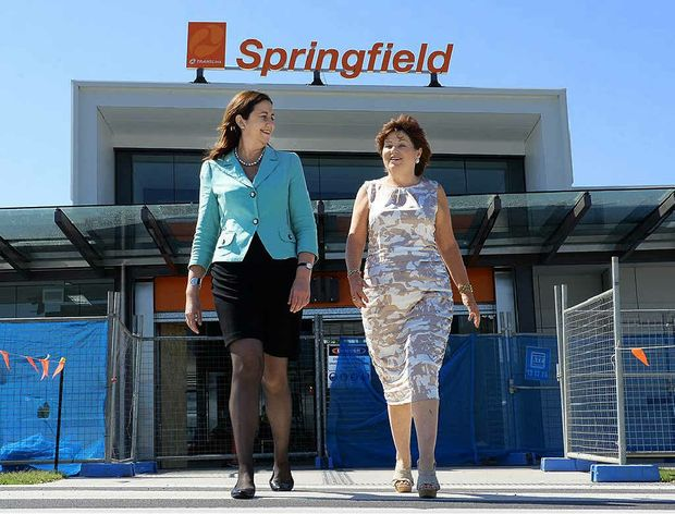 VISIT: Queensland opposition leader Annastacia Palaszczuk and member for Bundamba Jo-Ann Miller at the nearly completed Springfield train station.