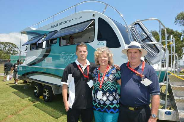 Image for sale: Sunshine Coast Home Show and Caravan, Camping and Boating Expo. Luke, Vivienne and Brett Golding. Photo: Warren Lynam / Sunshine Coast Daily