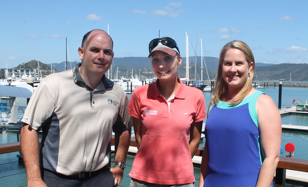 TOURISM BOOST: Tourism Australia's Best Job in the World park ranger Elisa Detrez (centre) is looking forward to promoting the Whitsunday region over the next month. She was welcomed to the region by Queensland Parks and Wildlife Service acting regional director Damien Head and Racheal Klitscher from Tourism Events Queensland at Abell Point Marina on Tuesday.