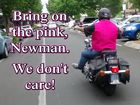 AN ANONYMOUS biker has made a public pink protest down the main strip of Toowoomba in response to the State Government's new anti-bikie laws.