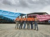 HEADS were turning on the Capricorn Hwy last week when two 797 rear dump truck trays were painted bright blue and electric pink to raise awareness for cancers.