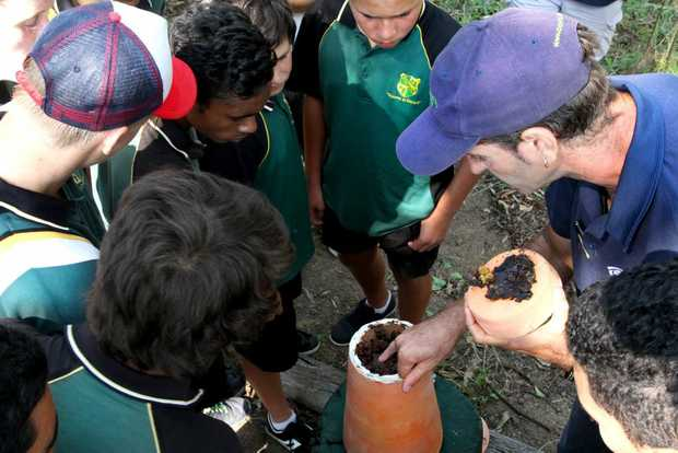 SWEET TALK: Kepnock Bush Tucker students listening to CQ University environmental science student Leslie Lowe talking about their recently received working native bee hive as a part of the Gabai Native Bee Project. Photo: Zach Hogg / NewsMail