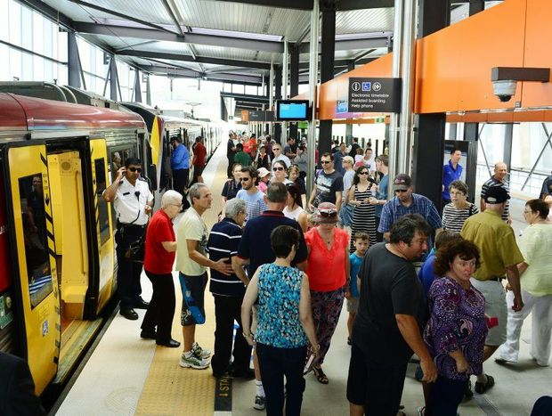 Large crowds took the opportunity to be the first to catch a train from the new Springfield Central Station. Photo: David Nielsen / The Queensland Times