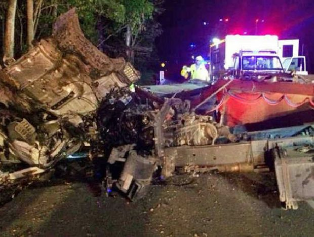 POLICE PROBE: The wreckage from a crash at Pomona between a truck and a Toyota HiLux.