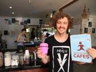Co-owner of Leche Cafe in Yamba Zac Roberts is proud to support the 'Responsible Cafes' movement offering 50 cents off to customers who bring their own cups for a coffee (http://responsiblerunners.org/) Photo: Contributed NO RESALE