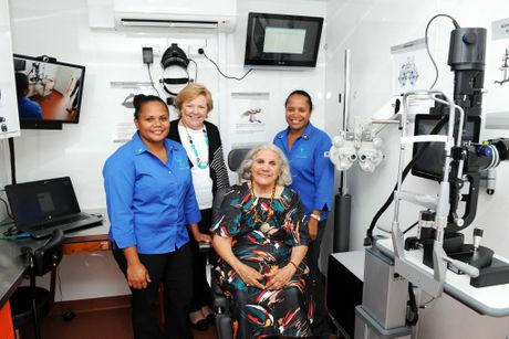 Melanie Green, Diamond Jubilee Partnerships executive director Lyndall De Marco, Butchulla elder Aunty Joyce and community liason officer Cassandra Douglas in the IDEAS van.