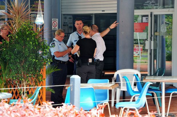 CRIME SCENE: Bundaberg Police attend the scene of an armed robbery at Lee's on Sylvan at Moore Park Beach on Sunday afternoon. Photo: Max Fleet / NewsMail