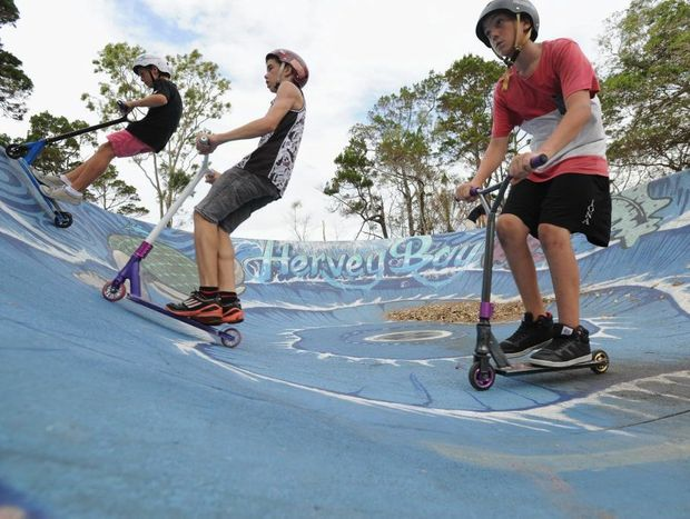 Enjoying the clearing weather are Jared Rees, Josh Donkin and Kya Hebblewhite at the skate bowl at Pialba's Seafront Oval.