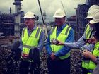 Premier Campbell Newman and Santos CEO David Knox on Curtis Island to mark 75% completion of the Santos GLNG project.