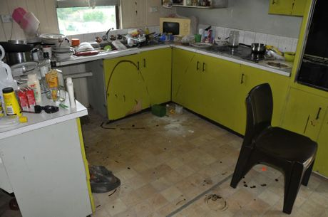 The kitchen on the North Toowoomba home ruined by tenants.