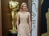 CATE Blanchett, hot favourite to win Best Actress for her role in Blue Jasmine, looked relaxed as she arrived at the 86th annual awards in a beaded, nude gown.