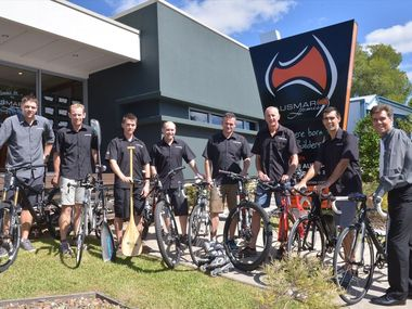 Ausmar Homes, Cooroy. Marc Wood, Dave Schloss, Lukas Cann, Chris Bidencope, John Green, Tony Bryan, Sean Fraser and Rod Kennerson are some of the company's fitness fanatics.