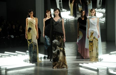 Models at Fashion Week in New York in Star Wars themed fashions.