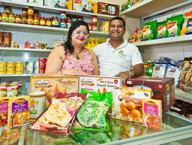INDIAN FARE: Om Namah Grocery Store owners Sonal Arora and Somnath Bhasker. Photo: Rob Wright / The Coffs Coast Advocate