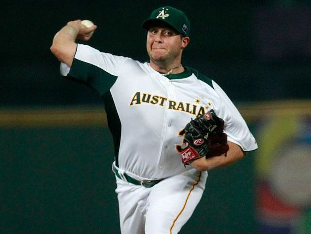Australia's starter Ryan Searle pitches to South Korea's Lee Yongkyu, not in photo, in the first inning of their World Baseball Classic first round game at the Intercontinental Baseball Stadium in Taichung, Taiwan, Monday, March 4, 2013.