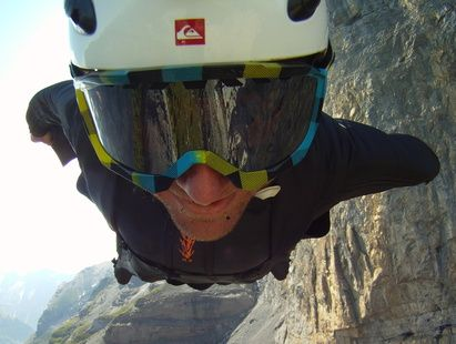Dan Vicary during a flight using a wingsuit