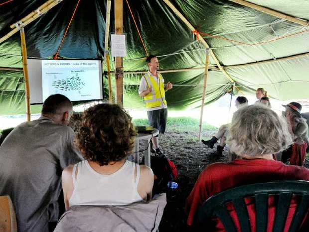 GAINING RESPECT: Speaking at a workshop on non violent protesting Adam Guise, at the Bentley CSG site on Saturday.