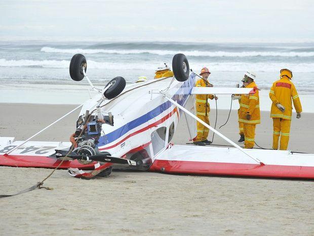 Scene of an ultralight aircraft crash at Broadwater Beach earlier today