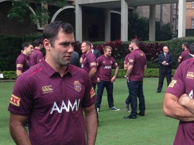 QLD State of Origin team captain Cameron Smith (left) with Greg Inglis and Member for Gregory Vaughan Johnson at team reception at State Parliament on Tuesday, May 20, 2014.