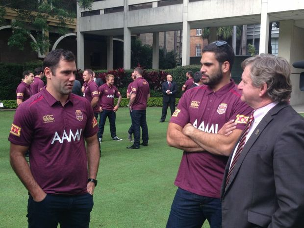 QLD State of Origin team captain Cameron Smith (left) with Greg Inglis and Member for Gregory Vaughan Johnson at team reception at State Parliament on Tuesday, May 20, 2014. Picture: Adam Davies