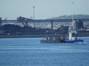 The RG Tanna Coal Terminal as seen from the quarterly construction cruise on Gladstone harbour.