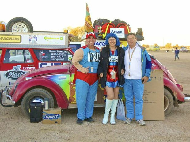 David Murray as Duffman, Debbie Wilson as Marge and Greg Wilson as Homer - Variety Bash team from Yeppoon.