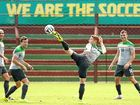 ON THE UP SIDE: Oliver Bozanic of the Socceroos kicks during an Australian training session in Vitoria, Brazil yesterday. The Socceroos had a light training session as they begin tuning up for their first game of the World Cup against Chile on Saturday.