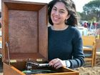 SAVING THE BIG BUCKS: Amelia Kousary was optimistic she would snag this record player for her growing music collection at yesterday's auction.
