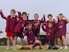 Brothers Junior Rugby League eight-year-olds (from left) Patrick Sanderson, Tyler Madden, Lucas Paynter, Ashton Wilson, Drew Fogarty, Lachlan Hope (kneeling) and Lachie Ciesiolka have so far enjoyed a lifeltime of Queensland origin series wins.
