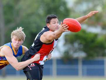 Action from the Glenmore Bulls v BITS AFL game at Stenlake Park on Saturday.   Photos CHRIS ISON.