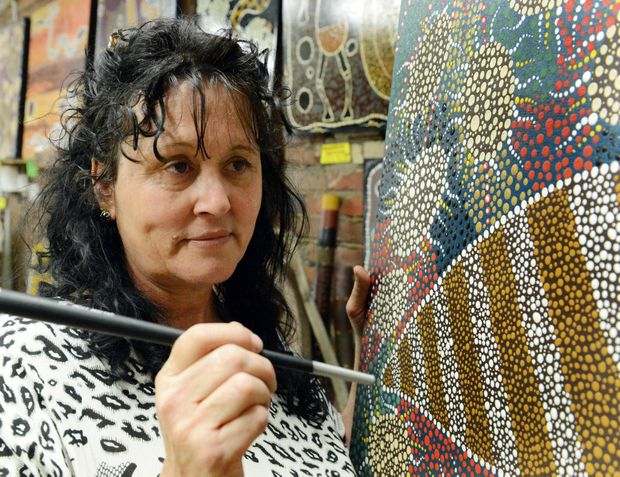 Veronica Bartley with some of her artwork that will be on display at Gallery Ink in Rockhampton. Photo Sharyn O'Neill / The Morning Bulletin