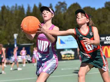 Netball fixtures at Fisherman's Road Multi-Sport Complex, Nambour Christian College v's Kuluin division 8 game.
