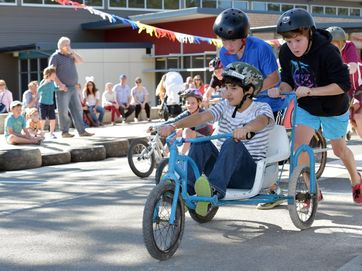 Action from the 11th annual Noosa Billy Cart Grand Prix at the Noosa Christian College at Cooroy.