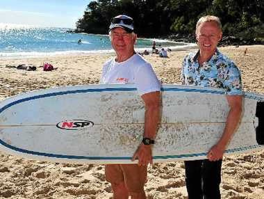 PROUD DAY: Chairman of the Noosa National Surfing Reserve committee, Phil Jarratt (left) and Tourism Noosa CEO Damien Massingham celebrate the inclusion of Noosa in the reserve.