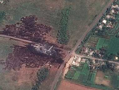 A satellite image shows the primary crash site of Malay