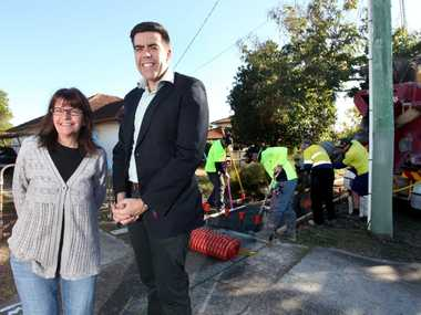 Sue Starkie and Cr Milton on Serviceton Avenue, Inala which has just received a $508,000 upgrade. Photo Inga Williams / The Satellite