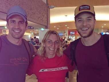 Andy Lee, Angel Pollard and Hamish Blake at Stockland Rockhampton