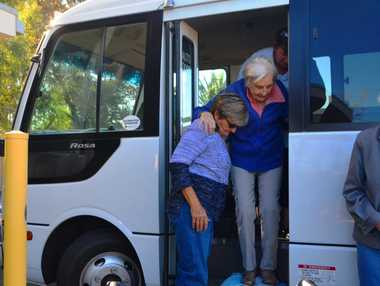 GIVING: For the past two years Narelle Walsh (left) has been volunteering her time to take Pinaroo residents for trips on her bus.