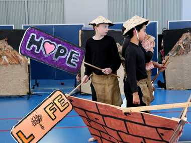 STORY DANCE: Wondai State School students performed an interpretive dance about Anh Do's life.