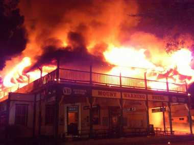 Paul Robertson posted this photo on Facebook of the historic Mt Warning Hotel, at Uki, going up in flames on February 23.