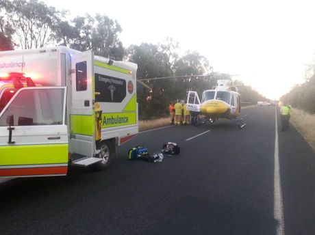 A man in his 20s was injured in a single vehicle rollover on the Moonie Hwy this afternoon.