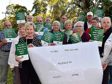LET'S SPLIT: Johanne Wright leads a protest against SCC decision to disallow EDV residents to join Noosa Shire.