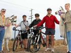 PASSIONATE: Leisa Cornford (Ottaba llamas), Paul Heymans, Graham Hayton, Ken Wilson and Rebekah Mircic (Ottaba llamas) hit the Brisbane Valley Rail Trail on the weekend.
