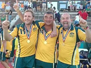LOCAL CHAMPS: Pictured (top right) are, from left, Ballina Hockey Club's Scott Hamilton (also pictured above, playing for FNC Over-35s), Wayne Porter and Grant Smith after representing Australian veterans teams at the Masters World Cup in the Netherlands.
