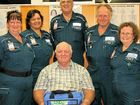 FAREWELL: Recently retired Killarney police sergeant Trevor Gordon sits back and relaxes as the Killarney First Responders Catorina Lawson, Trish Wagner-Ross, Dave Winter, Ray Bodley and Val Flint wish him all the best in his retirement and presented him first aid kit for his caravan and travels.