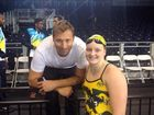 Rockhampton teenage swimmer Alanna Bowles with one of Australia's well known Olympians Ian Thorpe