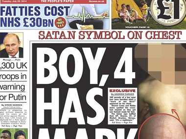 The Sun's Mark of the Devil front page.